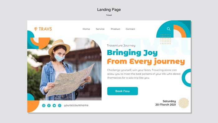 Travel Landing Page PSD Template