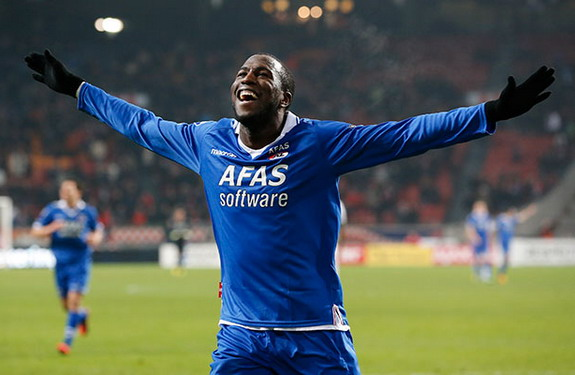 AZ Alkmaar forward Jozy Altidore celebrates after scoring his second goal against Ajax
