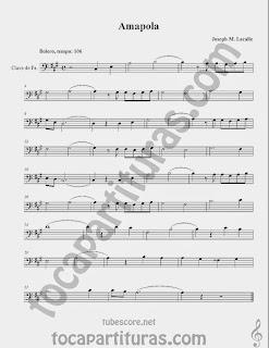 Amapola Partituras en Clave de  Fa en 4º Línea para Trombón, Chelo, Fagot, Bombardino, Tuba y otros instrumentos  Sheet Music in Bass Clef for Trombone, Chelo, Bassoon, Tube, Euphonium... Bolero