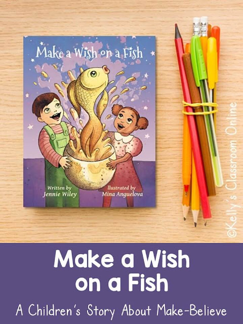 Language arts lesson about reality vs. fantasy and rhyming words for young readers using the book Make a Wish on a Fish written by Jennie Wiley.