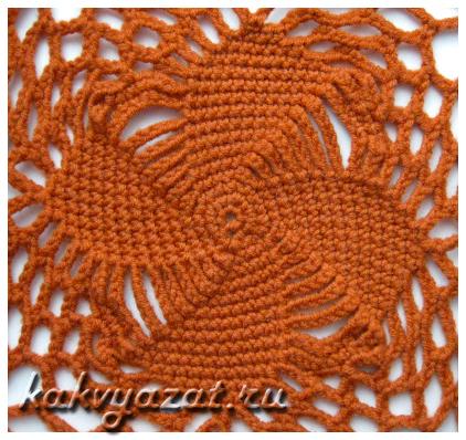 Квадратный мотив для вязания пончо, образец.