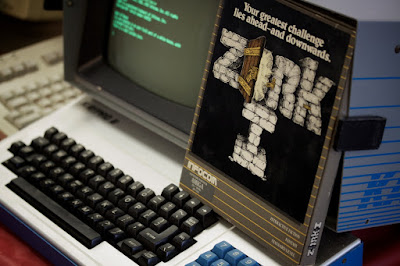 Sharp-eyed people may notice that this Kaypro II is accompanied by the Amiga version of Zork I