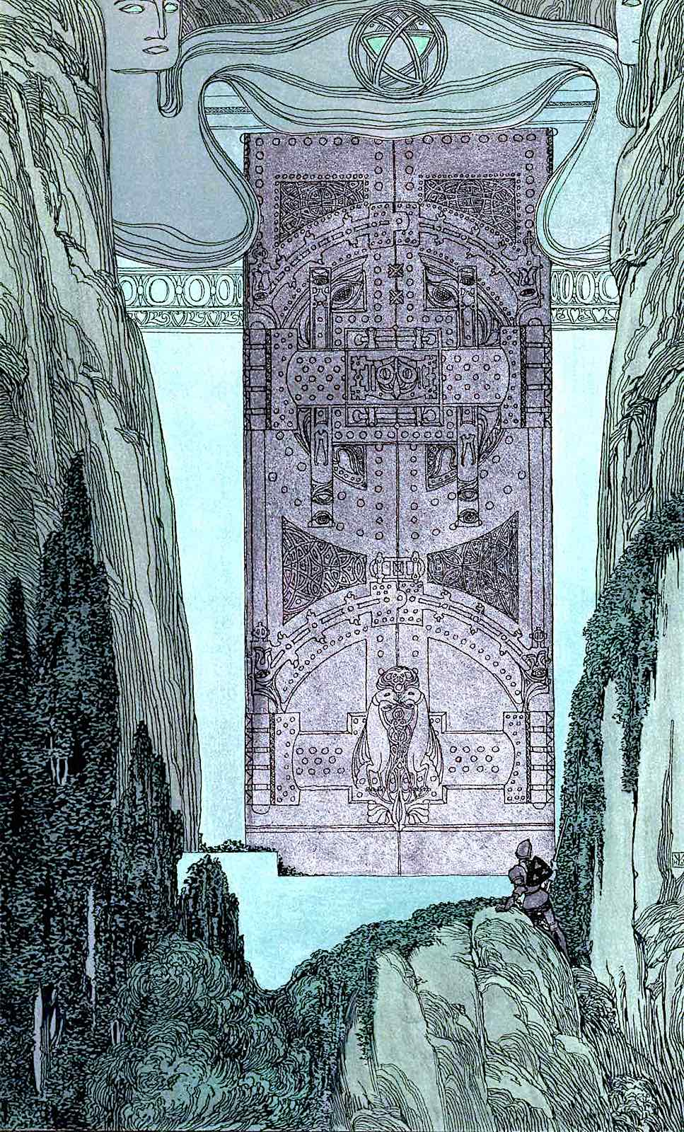 a Heinrich Lefler illustration of an adventurer looking at enormous doors