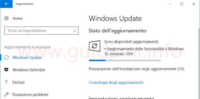Windows Update di Windows 10 download aggiornamento Fall Creators Update
