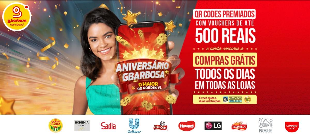 Participar Aniversário 2021 GBarbosa Compras Grátis Cadastrar - QR Codes Premiados Até 500 Reais