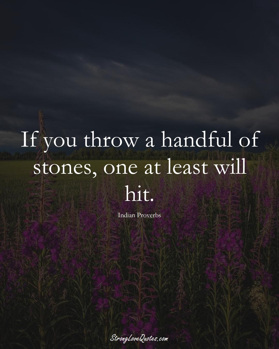 If you throw a handful of stones, one at least will hit. (Indian Sayings);  #AsianSayings