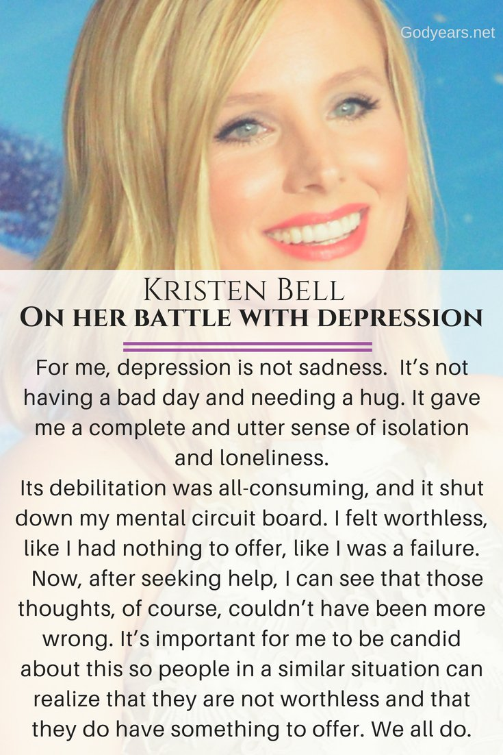 Suicide Prevention: Kristen Bell talks on her battle with depression
