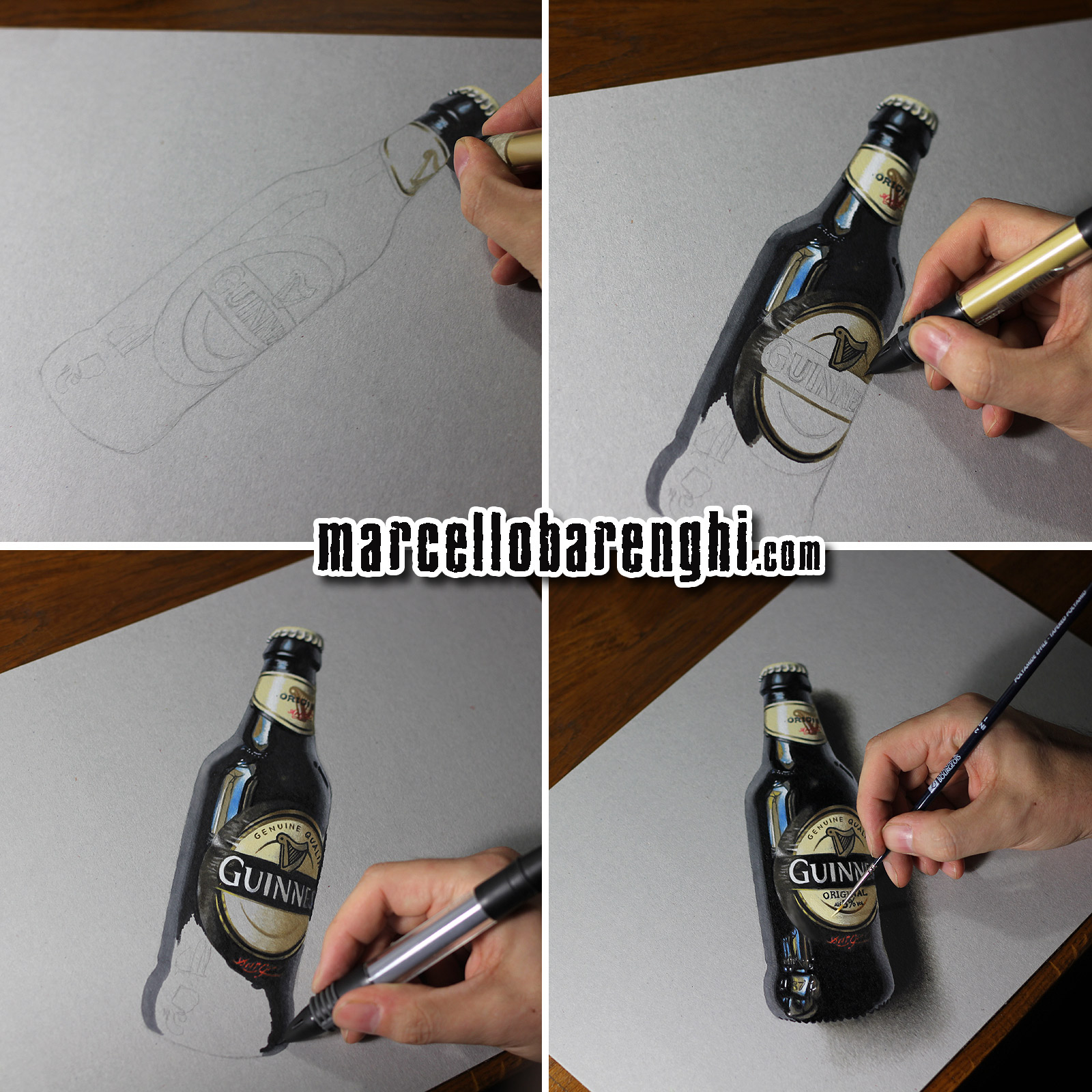Marcello Barenghi: A bottle of Guinness beer - drawing phases
