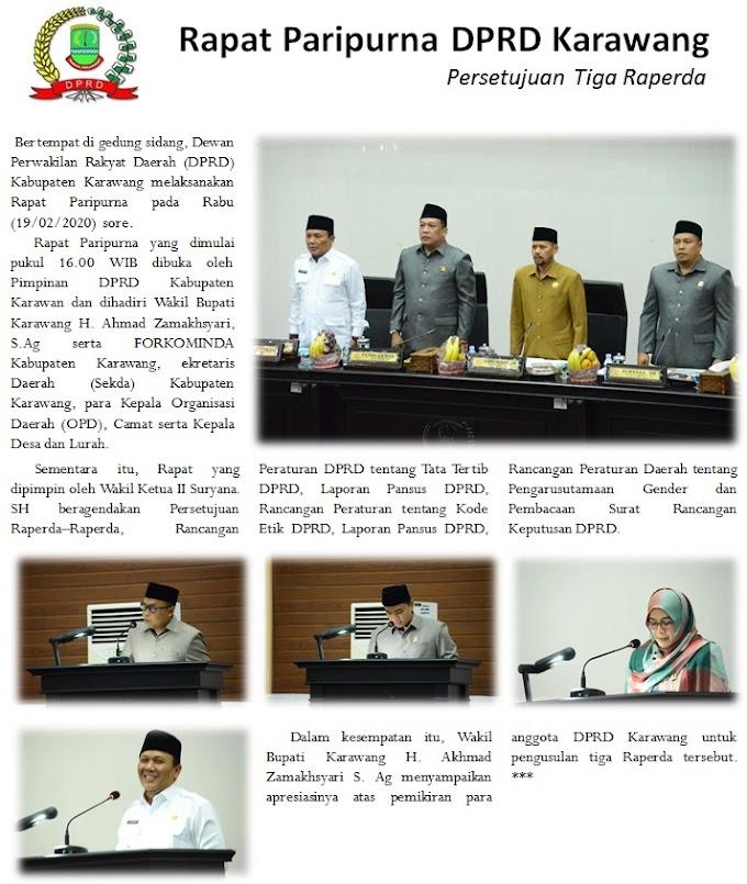 DPRD Karawang Laksanakan Rapat Paripurna