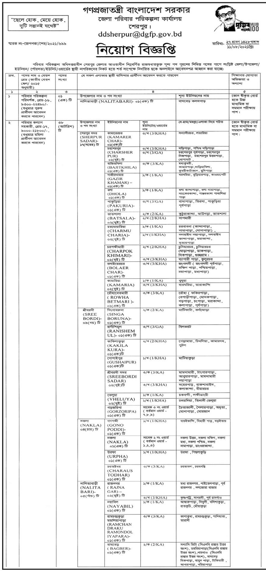 শেরপুর জেলা পরিবার পরিকল্পনা নিয়োগ বিজ্ঞপ্তি ২০২১ - Sherpur District poribar porikolpona job circular 2021 - জেলা ও উপজেলা পরিবার পরিকল্পনা কার্যালয় নিয়োগ বিজ্ঞপ্তি ২০২১