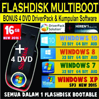 Jual Flashdisk Multiboot Install Ulang Bonus DriverPack Software 16GB Windows  7 8 8.1 10 32Bit dan 64Bit All IN ONE Bonus DriverPack