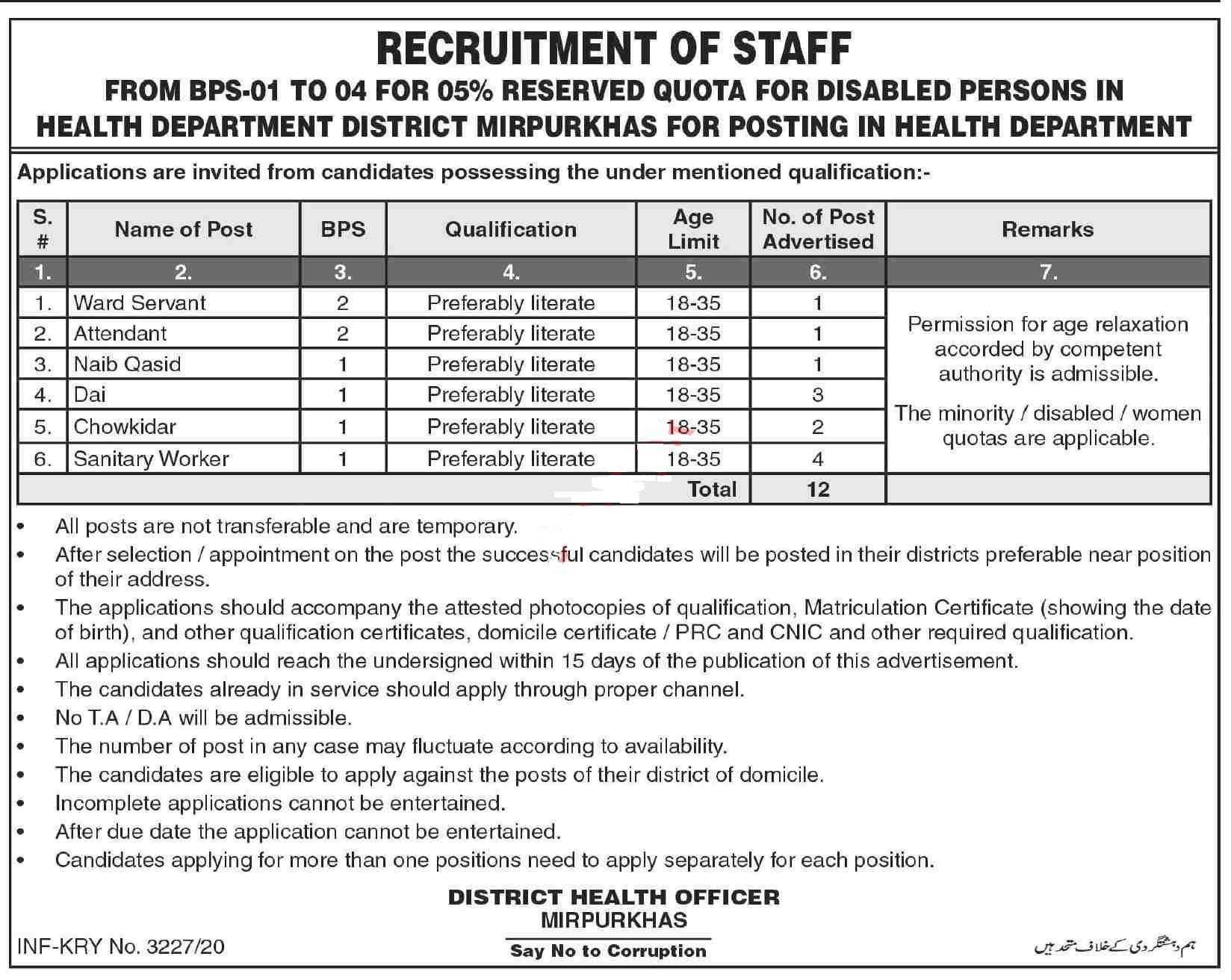 Health Department Mirpurkhas Jobs 2020 for Ward Servant, Attendant, Naib Qasid, Office Boy, Dai, Chowkidar, Sanitary Worker, Sweeper