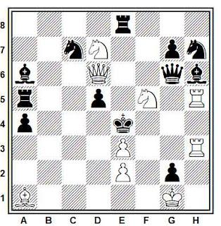Problema de mate en 2 compuesto por Eigil Pedersen (1º Premio, T. T. Skakbladet 1944)
