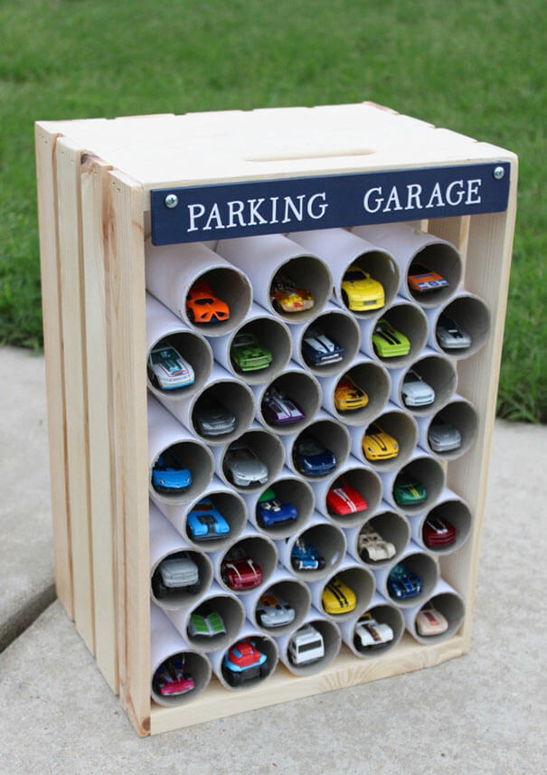 18 Hilarious Hacks Prove That Some Parents Are Geniuses - Use Toilet Paper Tubes To Make An Amazing Parking Garage For Hot Wheels