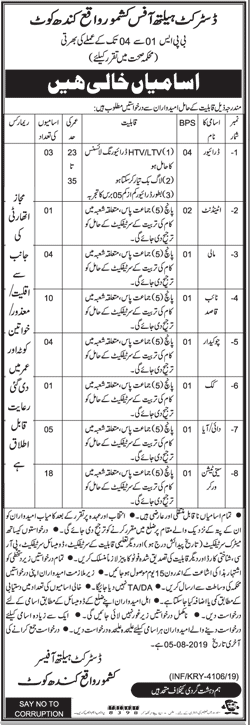 Health Department Kandhkot Jobs 2019 Latest