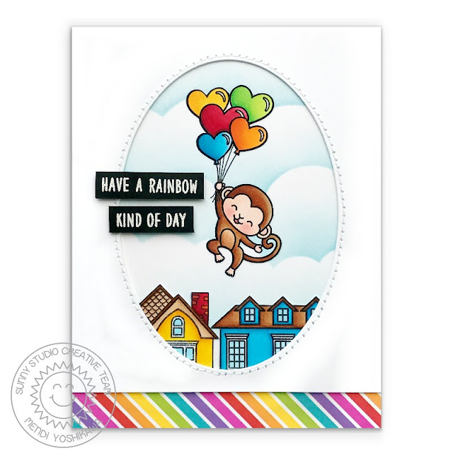 Sunny Studio Stamps Love Monkey Rainbow Kind of Day Floating Balloon Card (using Happy Home & Over The Rainbow Stamps and Rainbow Bright 6x6 Papers)