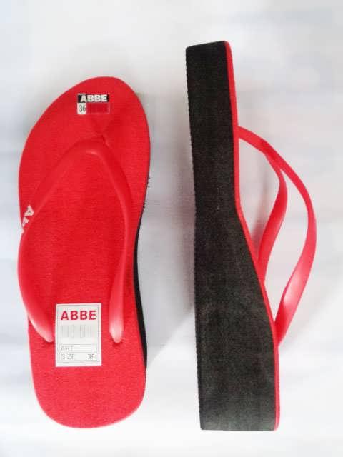sandal jepit abbe wanita tinggi merah samping