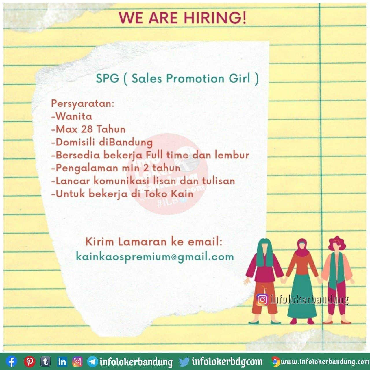 Lowongan Kerja SPG Kain Kos Premium Bandung Januari 2021