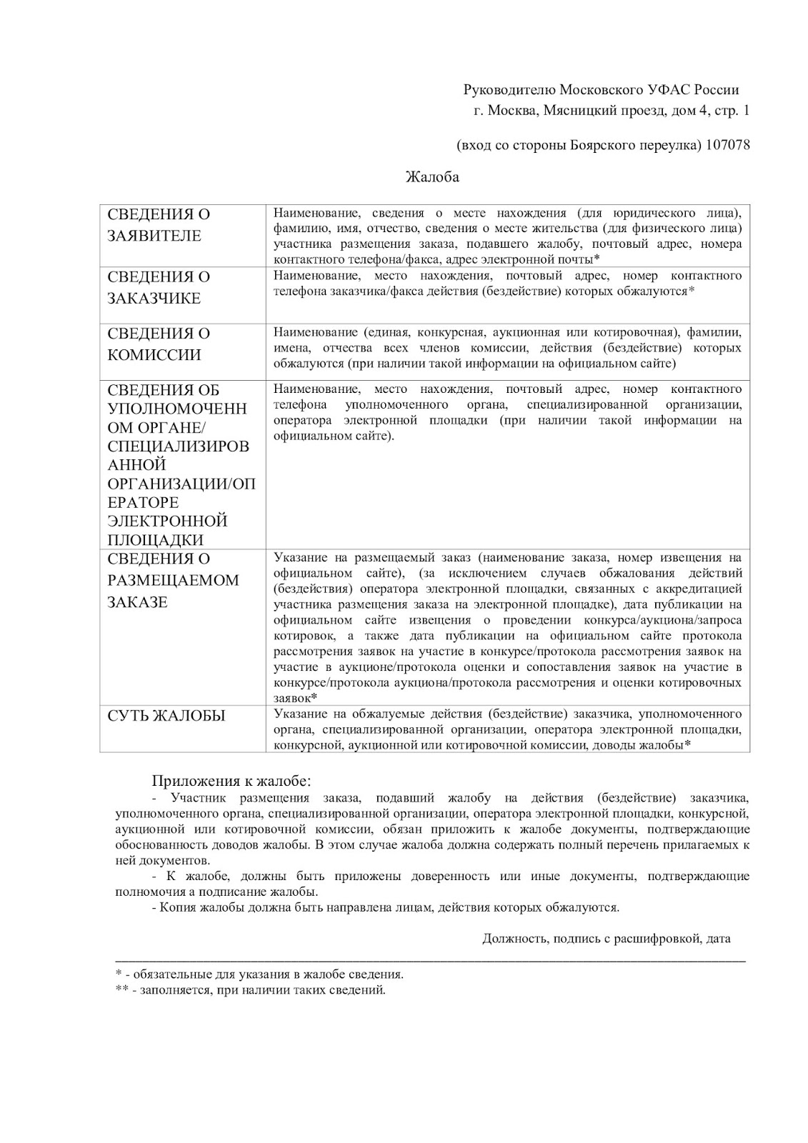 Жалоба в ФАС по 44-ФЗ (Образец жалобы на заказчика)