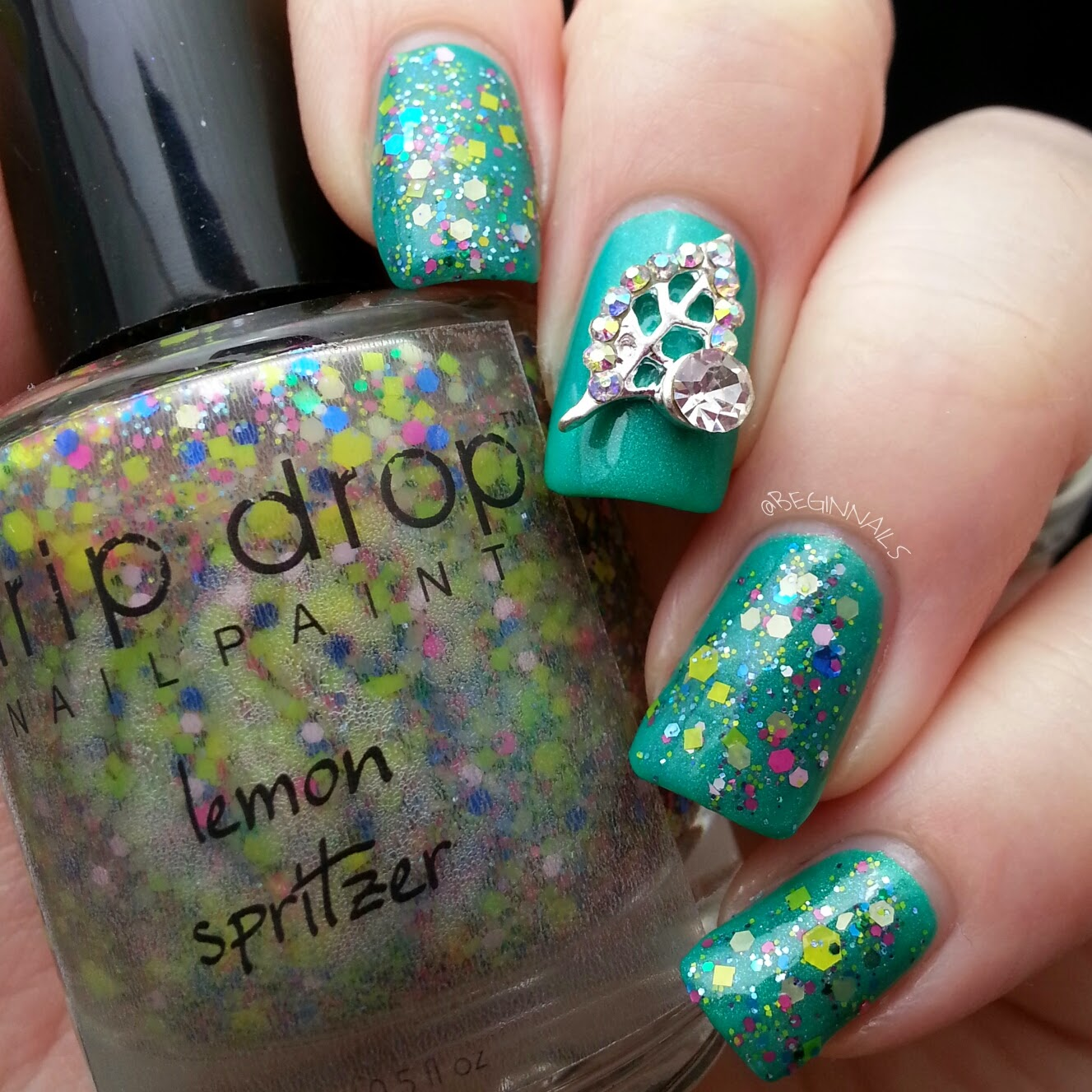 Simple Leaf Nail Art: Let's Begin Nails: Charmingly Simple Nail Art Charms For