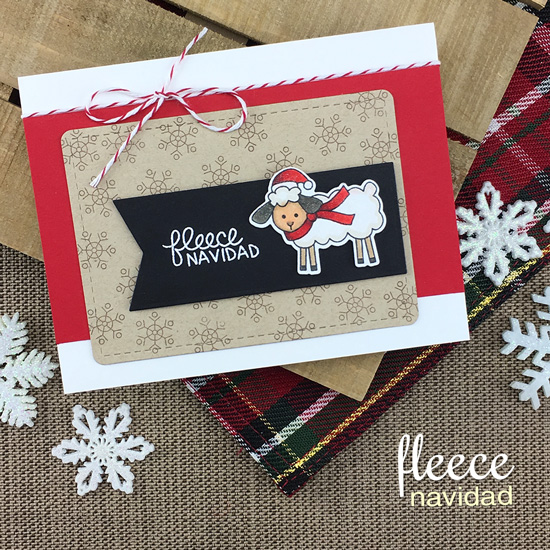 Sheep Christmas Card by Jennifer Jackson | Fleece Navidad Stamp Set by Newton's Nook Designs #newtonsnook #handmade