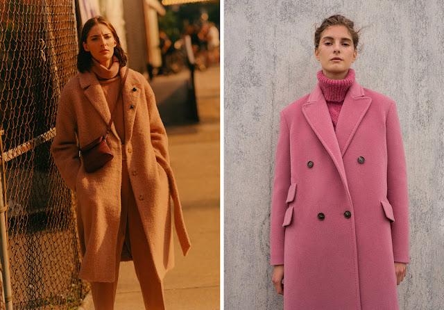 Монохромные образы с персиковым и розовым пальто