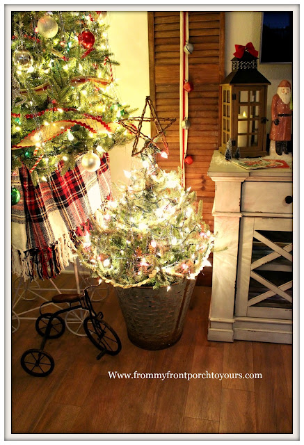 Vintage Inspired Farmhouse Christmas Tree-Olive Bucket-Twig Star-Button Garland- From My Front Porch To Yours