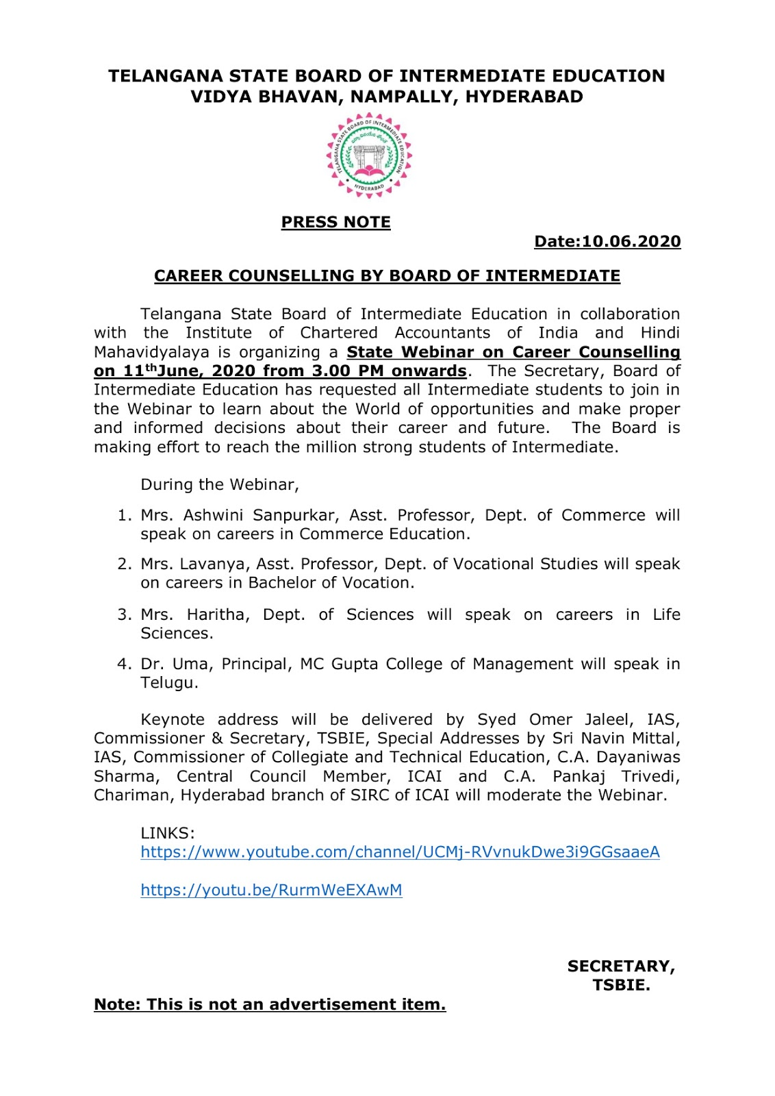 telangana board inter education inter 2020 career counselling notification