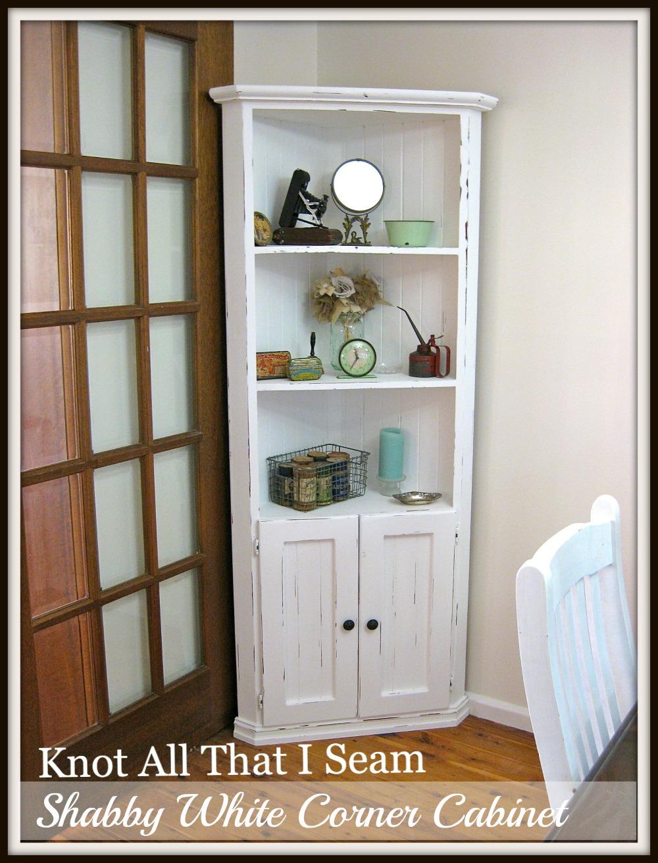 white corner cabinet for dining room | Restyle Relove: White Farmhouse Corner Cabinet