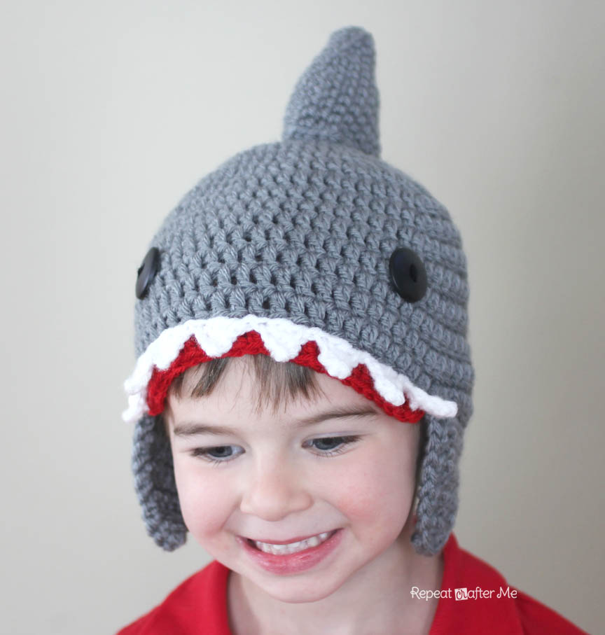 sc 1 st  Repeat Crafter Me & Crochet Shark Hat Pattern - Repeat Crafter Me