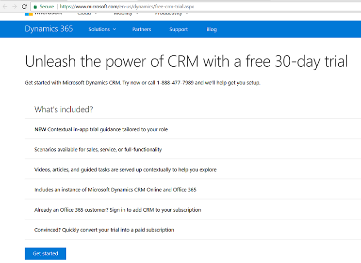 How to get started with 30-Day Free Online Dynamics 365