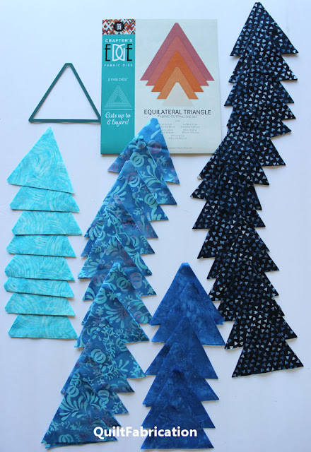 aqua blue and dark blue die cut triangles