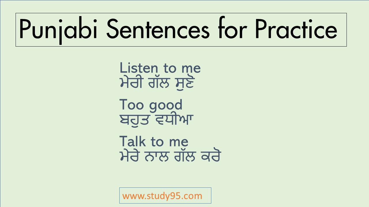 Punjabi to English sentences