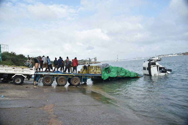 Likoni ferry Channel trailer plunged photo