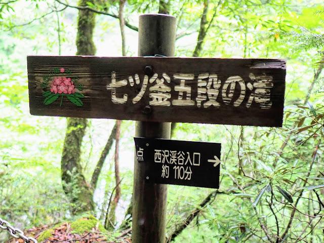 西沢渓谷 七ツ釜五段の滝看板