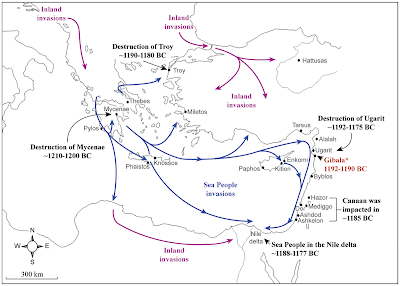 map of sea peoples invasions