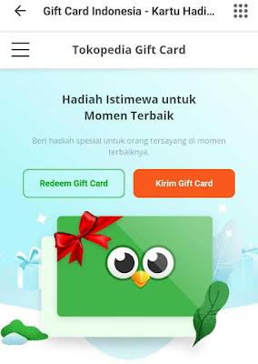 Cara Gift Card Tokopedia
