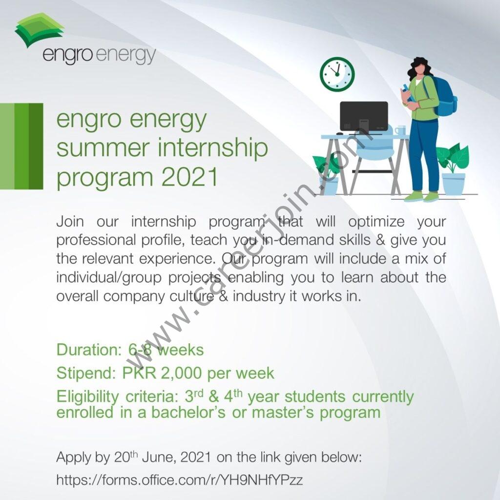 Engro Energy Ltd Summer Internship Program 2021 in Pakistan - Engro Internship Program 2021 Apply Online