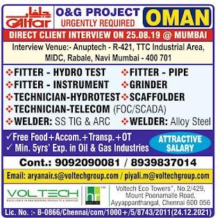 Galfar O & G Project Vacancies for Oman
