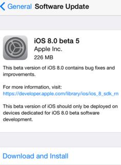 iOS 8 Beta 5 Apple