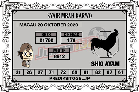 Syair Mbah Karwo Togel Macau Selasa 20 Oktober 2020