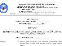 Download Contoh SK UNBK SD SMP SMA 2017
