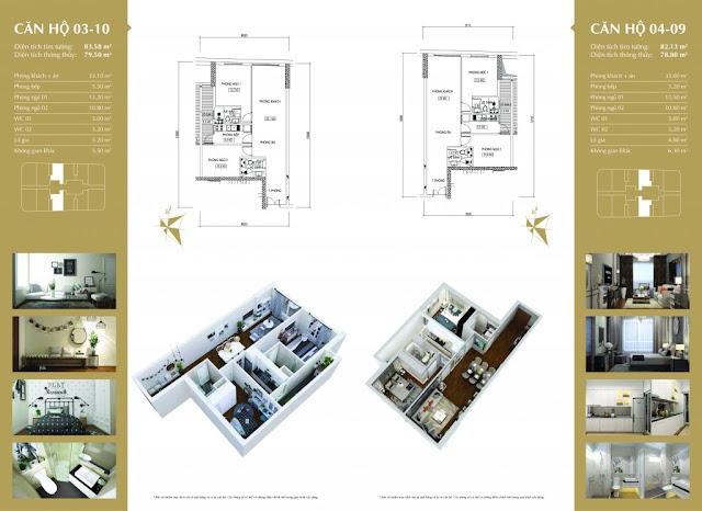 Thiết kế căn hộ 03-10 và 04-09 Imperial Plaza