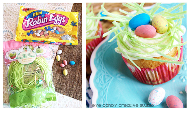mini robin eggs, edible easter grass, cupcakes for easter, easter
