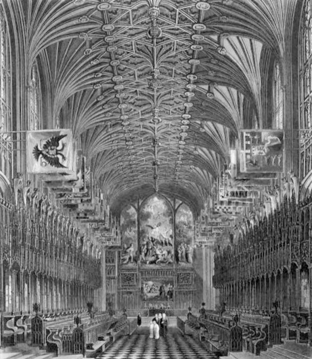 Choir of St George's Chapel, Windsor Castle  from The History of the Royal Residences by WH Pyne (1819)