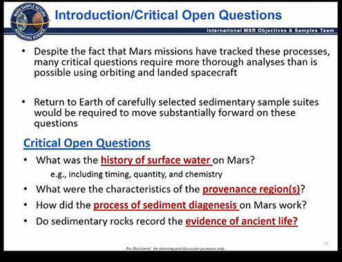 What questions should the returned Mars samples answer?  (Source: NASA workshop on Astrobiology, Irvine, CA)