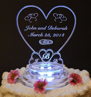 Best Heart Love Shaped Light Up Wedding Cake Topper