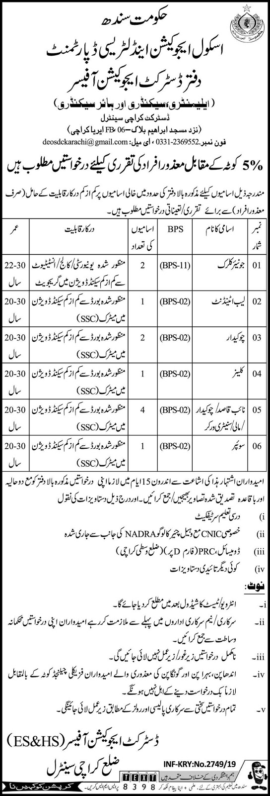 11 Jobs In Karachi School Education And Literacy Department Govt Of