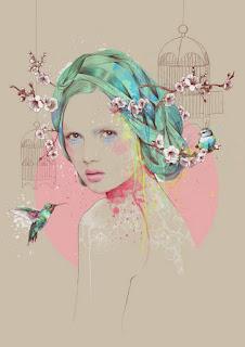 Ilustraciones Coloridas con Rostros Femeninos