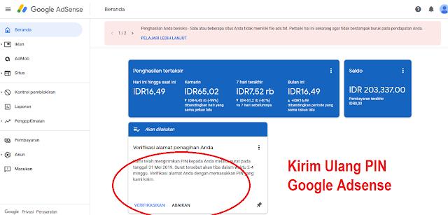 Cara Mudah Kirim Ulang PIN Google Adsense karena PIN belum diterima
